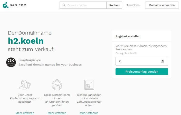Domain Name h2.koeln ist zu verkaufen für das Wasserstoff-Business.